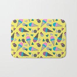 Cruncher - memphis throwback ice cream cone desert 1980s 80s style retro geometric neon pop art Bath Mat