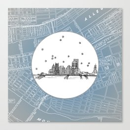 Pittsburgh, Pennsylvania City Skyline Illustration Drawing Canvas Print
