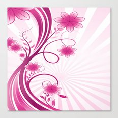 Pretty Pink Flourish and Flower Canvas Print