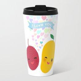 I love you Card design with Kawaii lychee and mango with pink cheeks and winking eyes Travel Mug