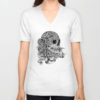 carpe V-neck T-shirts featuring Carpe Noctem (Seize the Night) by Rachel Caldwell