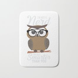 nerdy owl intelligent smart reading funny gift Bath Mat