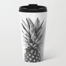 Black and white pineapple Metal Travel Mug