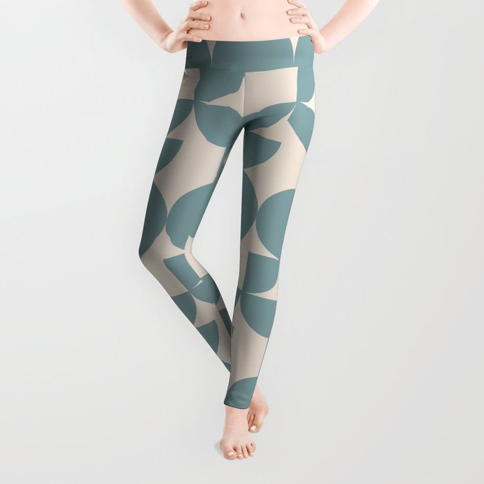 Mid Century Inspired Geometric Shapes in Soft Grey Blue Leggings
