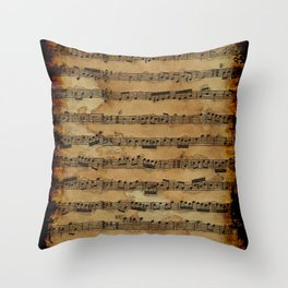 Grunge Sheet Music Music-lover's Design Throw Pillow