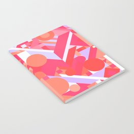GEOMETRY SHAPES PATTERN PRINT (WARM RED LAVENDER COLOR SCHEME) Notebook