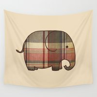 plaid Wall Tapestries featuring Plaid Elephant  by Terry Fan