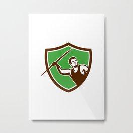 Javelin Throw Track and Field Athlete Shield Metal Print