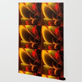 Stylized Half Flower Red Wallpaper