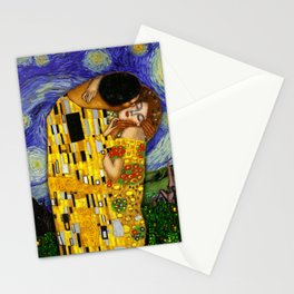 The kiss under the starry night Stationery Cards