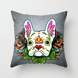 French Bulldog in White - Day of the Dead Sugar Skull Dog Throw Pillow