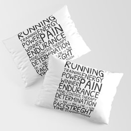 Running word cloud, training motivation Pillow Sham
