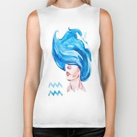 aquarius Biker Tanks featuring Aquarius by Aloke Design