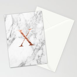 Monogram rose gold marble X Stationery Cards