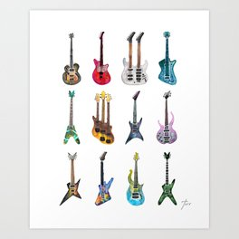Electric Guitars Watercolor Art Print