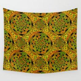 Brown and green circles Wall Tapestry