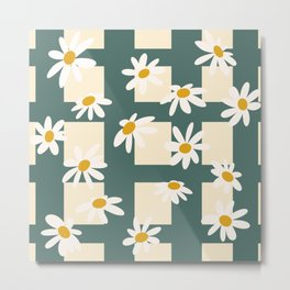Daisy Picnic in Teal  Metal Print