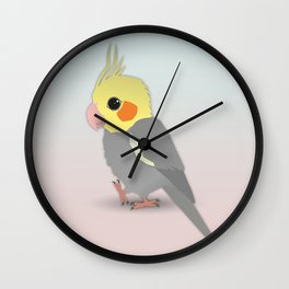 Cute cockatiel Wall Clock