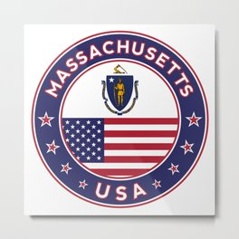 Massachusetts, Massachusetts t-shirt, Massachusetts sticker, circle, Massachusetts flag, white bg Metal Print