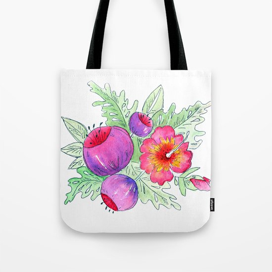 Tropical exotic flowers and leaves 2 . Tote Bag