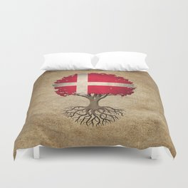 Vintage Tree of Life with Flag of Denmark Duvet Cover