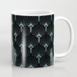 Teal Art Deco,art nouveau pattern, art deco black teal pattern, chic,elegant,great Gatsby,belle epoq Coffee Mug