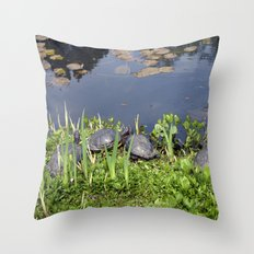Turtles by a water pond and water plants in a garden.  Nature  photography. Throw Pillow