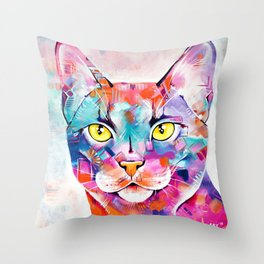Abstract Cat Portrait - Smoke Throw Pillow