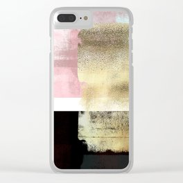 Minimal Abstract Soft Pink Landscape with Gold Clear iPhone Case