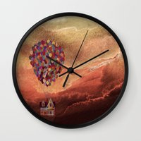 pixar Wall Clocks featuring Pixar Up! in the Clouds by foreverwars