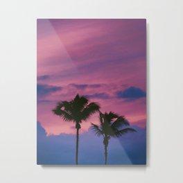 Pastel Pink Purple Periwinkle Sunset Two California Palm Tree Silhouette Metal Print