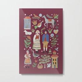 Swedish Folk Art - Red Metal Print