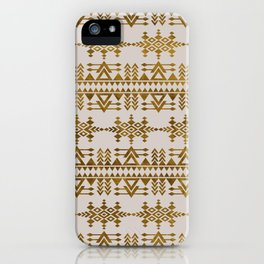 Golden Geometric Tribal Ethnic  Pattern iPhone Case