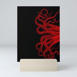 Red Vintage Octopus  Tentacles Illustration Mini Art Print