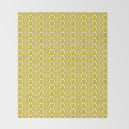 Snow Drops on Mustard Yellow Throw Blanket
