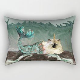 Behold the Mythical Merkitticorn - Mermaid Kitty Cat Unicorn Rectangular Pillow