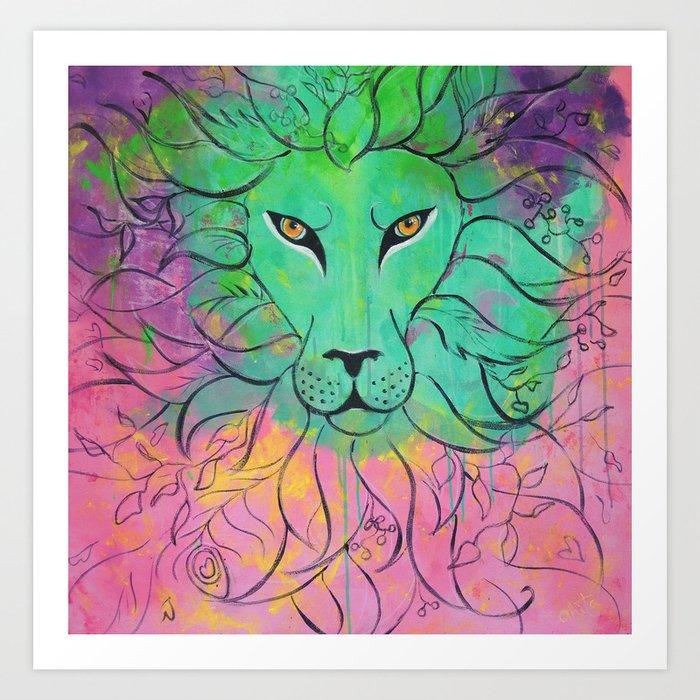 Lion -- Self Command Art Print