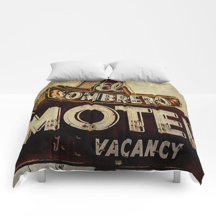 Vintage El Sombrero Motel Sign Comforters