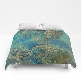 Blue And Gold Modern Abstract Art Painting Comforters