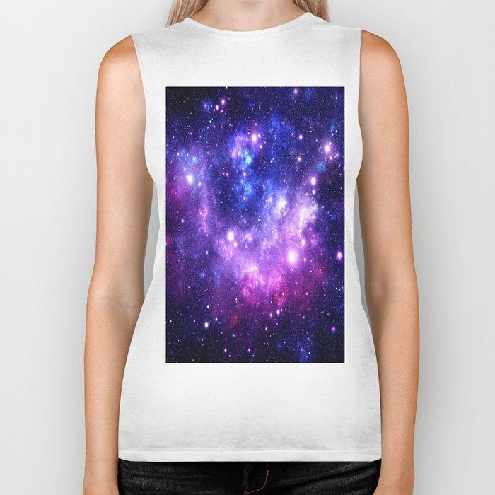 Purple Blue Galaxy Nebula Biker Tank