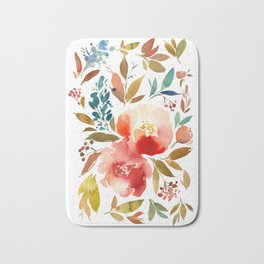 Red Turquoise Teal Floral Watercolor Bath Mat