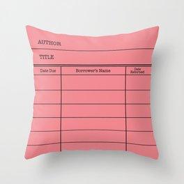 LiBRARY BOOK CARD (melon) Throw Pillow