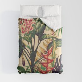 Vintage Tropical Flora (green) Comforters