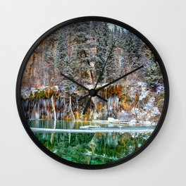 A Serene Chill Hanging Lake Winter Wall Clock