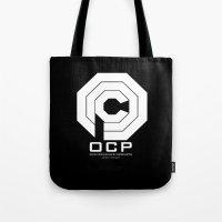 robocop Tote Bags featuring RoboCop- OCP by IIIIHiveIIII