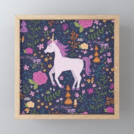 Be Magical Unicorn Pattern in a Garden Framed Mini Art Print