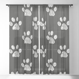 Doodle white paw print seamless fabric design repeated pattern Sheer Curtain