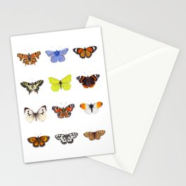 Set of Butterflies, Watercolor Butterflies, butterfly painting Stationery Cards