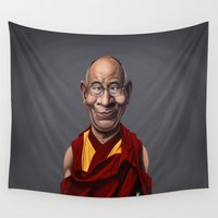 lama Wall Tapestries featuring Celebrity Sunday ~ Dalai Lama by rob art | illustration