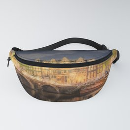 Night on the Amsterdam Waterways   painting Fanny Pack